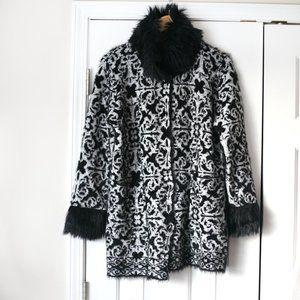 Black Rivet black silver faux fur sweater NWT